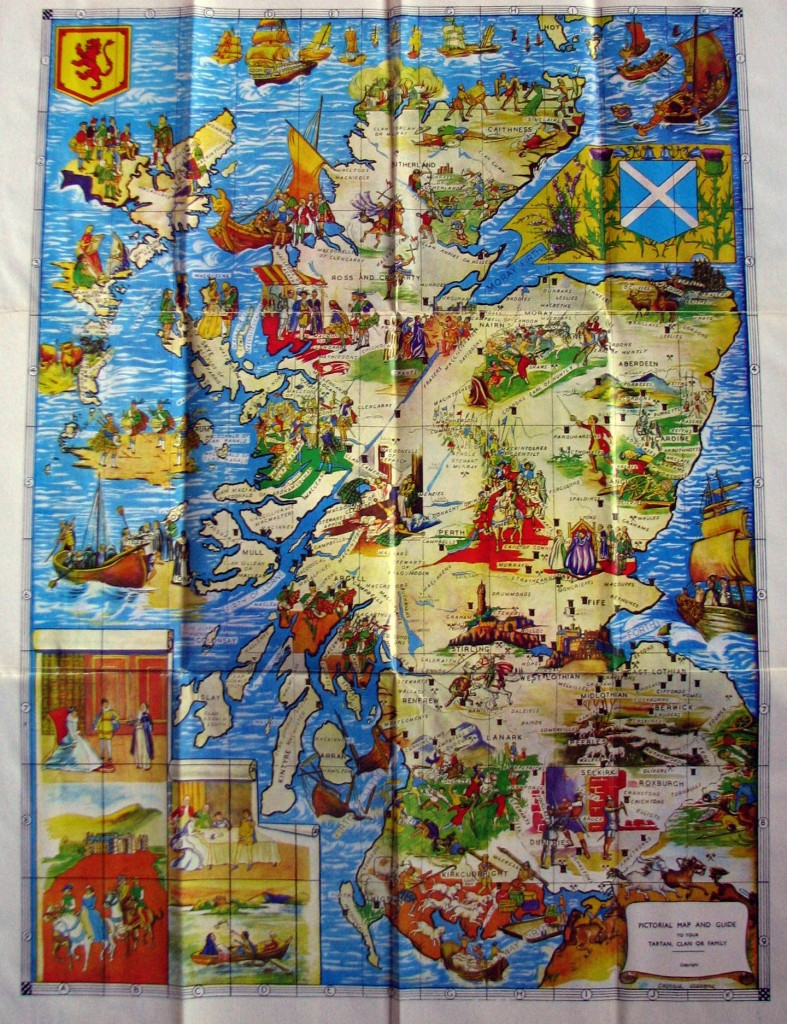 Colour Map of Scotland Showing ScotClans Homeland