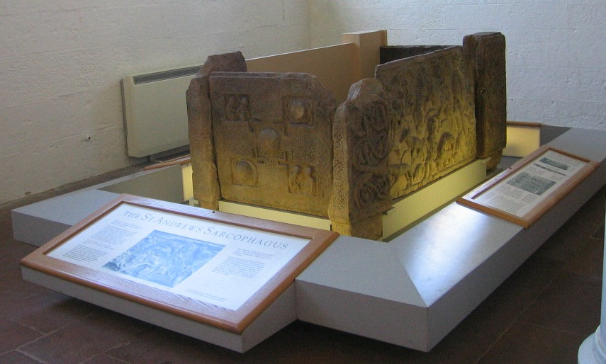 St Andrews Sarcophagus in St Andrews Cathedral Museum, Scotland