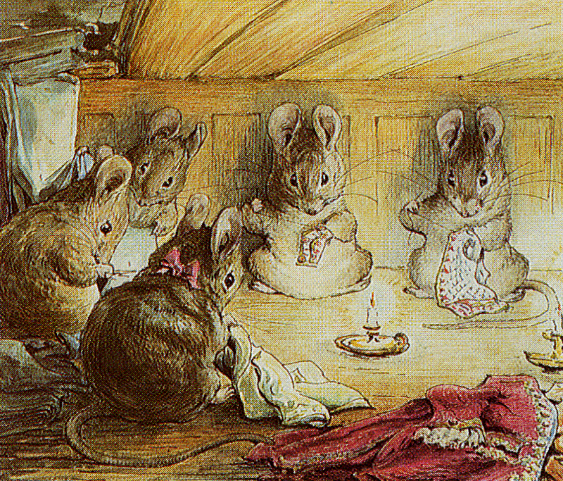 Mice sewing, illustration from The Tailor of Gloucester- The Complete Tales of Beatrix Potter F. Warne & Co edition 1989