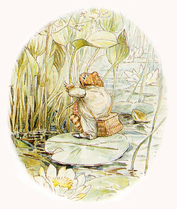 Mr. Jeremy Fisher on his lily-pad boat Illustration from The Complete Tales of Beatrix Potter F.Warne & Co 1989
