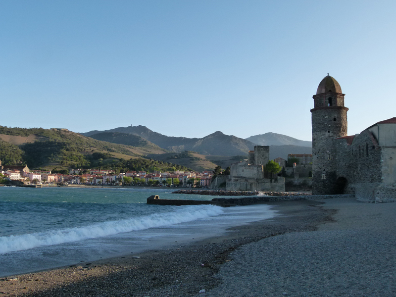 Collioure, Roussillon, France, view of the church from the beach © 2012 Scotiana