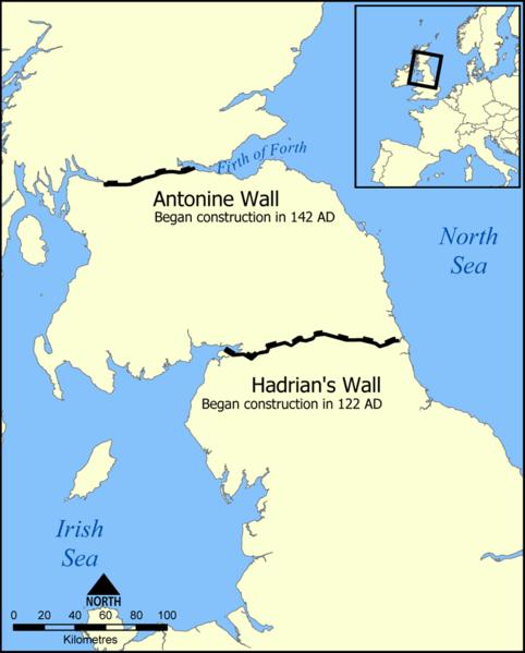 Hadrian's and Antonine Walls map - Source Wikipedia