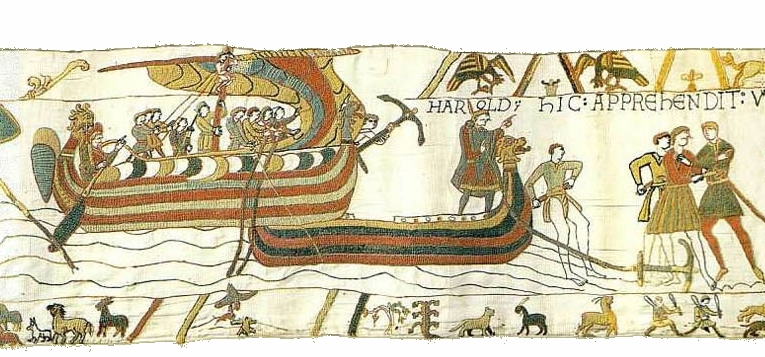 BayeuxTapestry scene 06 Viking ships Harold Wikipedia