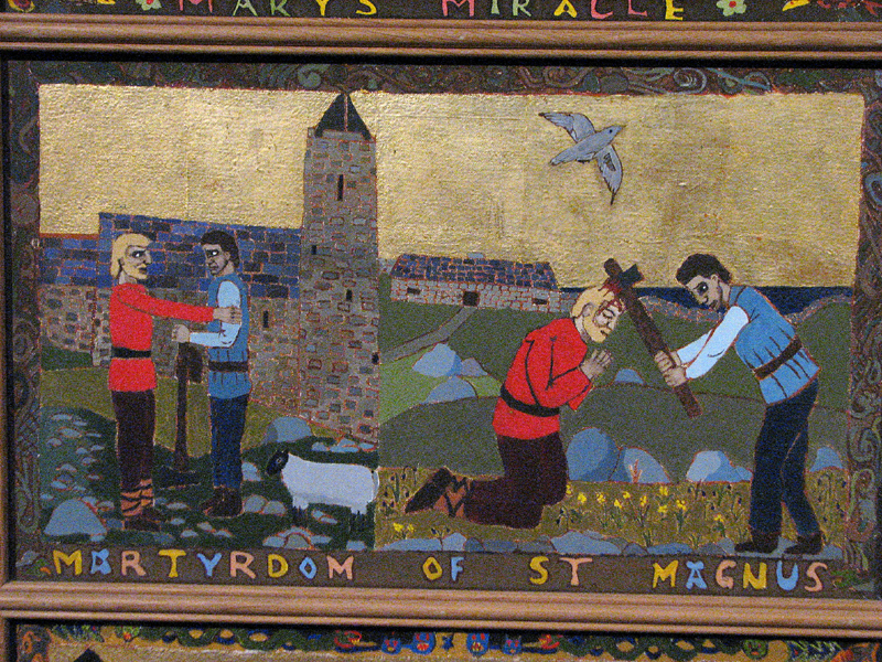 Orkney Kirkwall St Magnus cathedral painted panel 'Martyrdom of St Magnus' © 2012 Scotiana
