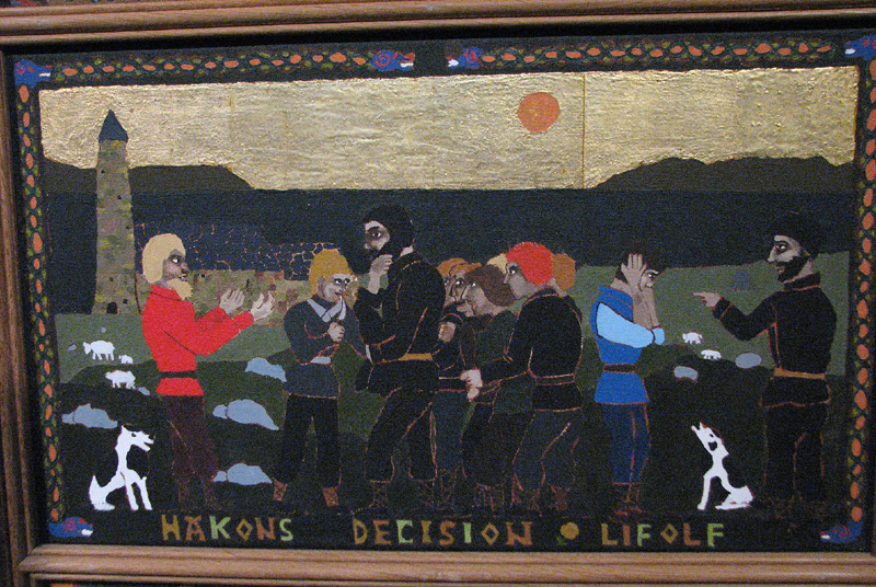 St Magnus Cathedral Painted panel 'Hakons decision and Lifolf' © 2012 Scotiana