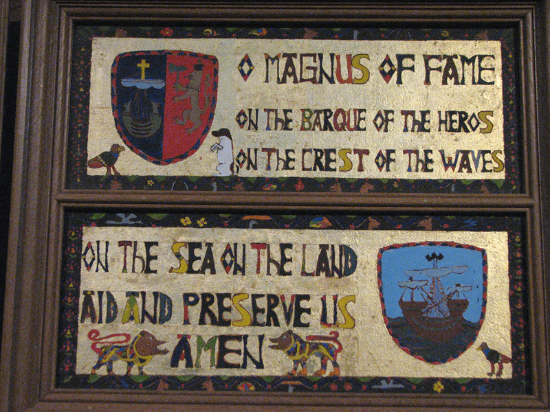 St Magnus Cathedral painted panel 'Magnus of Fame'  © 2012 Scotiana