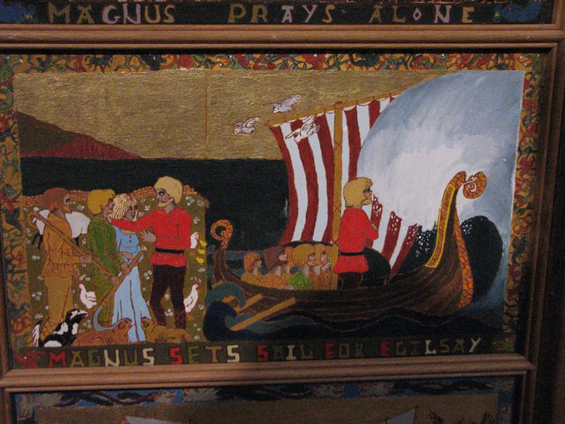 St Magnus Cathedral painted panels  Magnus sets sail for Egilsay © 2012 Scotiana