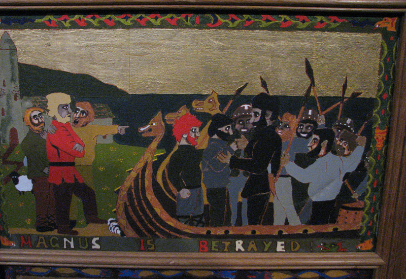 St Magnus cathedral painted panels 'Magnus is betrayed' © 2012 Scotiana