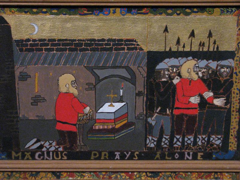 St Magnus cathedral painted panels  'Magnus prays alone' © 2012 Scotiana