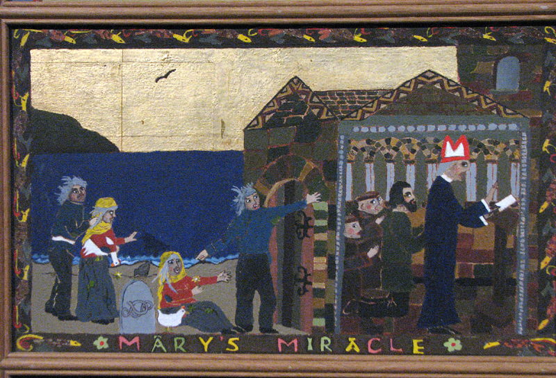 St Magnus cathedral painted panels - Scene IX - 'Mary's miracle'  © 2012 Scotiana