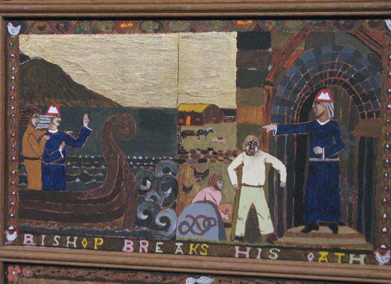 St Magnus cathedral painted panels - Scene X - 'Bishop breaks his oath' © 2012 Scotiana