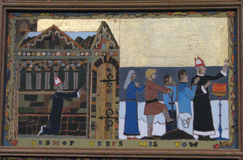 St Magnus cathedral painted panels - Scene XI - ' Bishop keeps his wow' © 2012 Scotiana