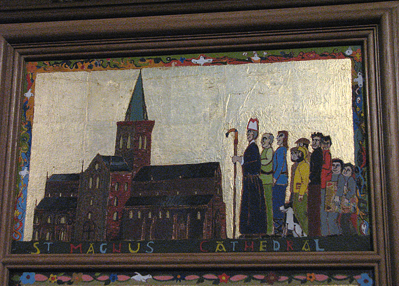 St Magnus cathedral painted panels - Scene XIV -  'St Magnus Cathedral' © 2012 Scotiana