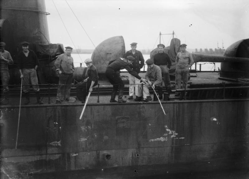 German sailors fishing from a destroyer in Scapa Flow.1919 Wikipedia