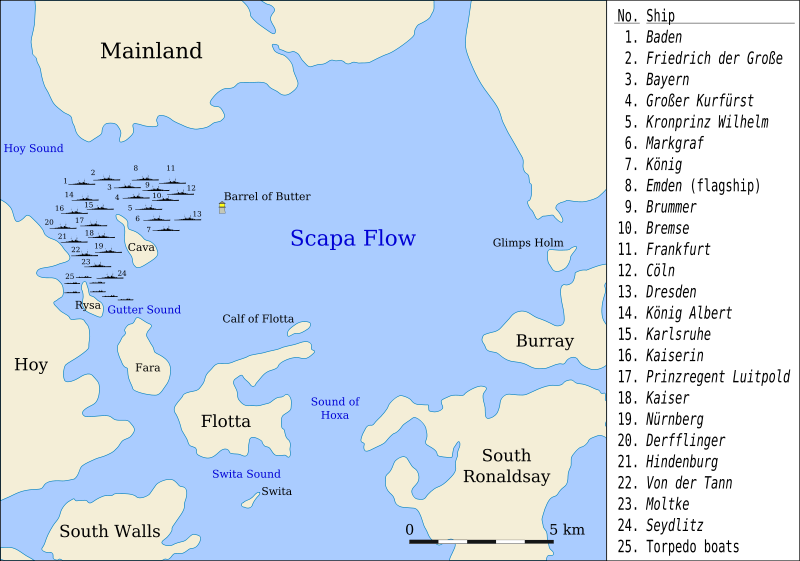 Map of the fleet's internment at Scapa Flow from 25 March 1919 Wikipedia