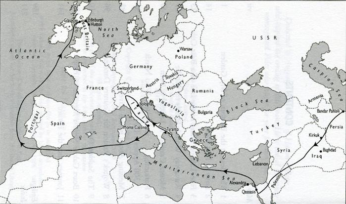 Fuelling the Wars - PLUTO and the Secret Pipeline Network 1936 - 2015 Wojtek-Journey-map-Wojtek-the-Bear-Aileen-Orr
