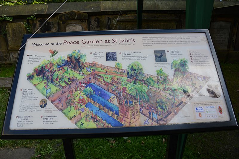 Edinburgh Peace Garden at St John's welcome panel © 2012 Scotiana