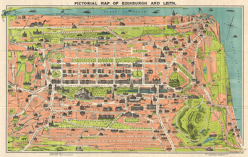 Reid Pictorial Map of Edinburgh and Leith Reid Scotland Geographicus 1935