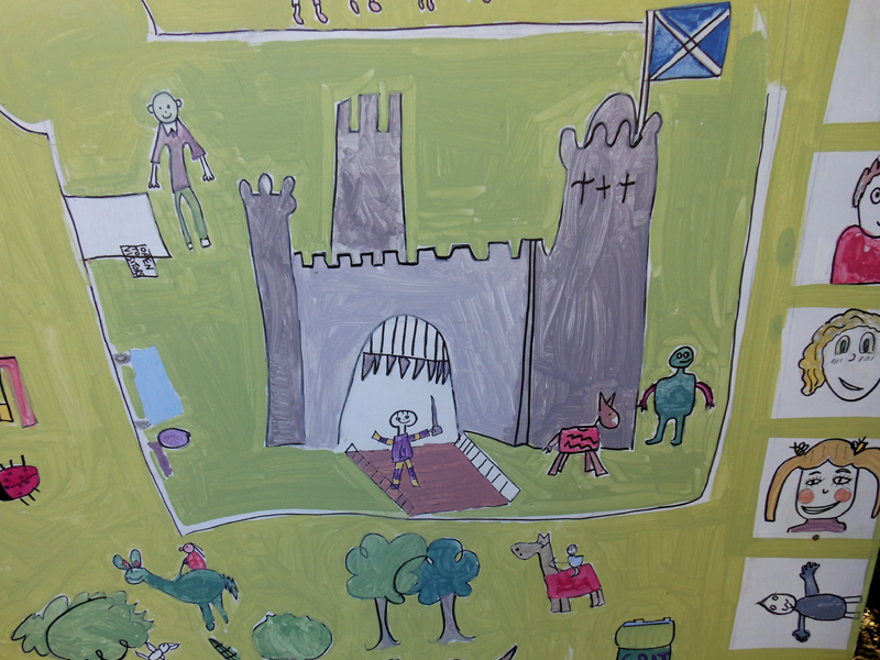 Detail of a children painting in the Museum of Dirleton Castle © 2012 Scotiana