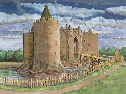 Dirleton Castle reconstruction painting © Andrew Spratt