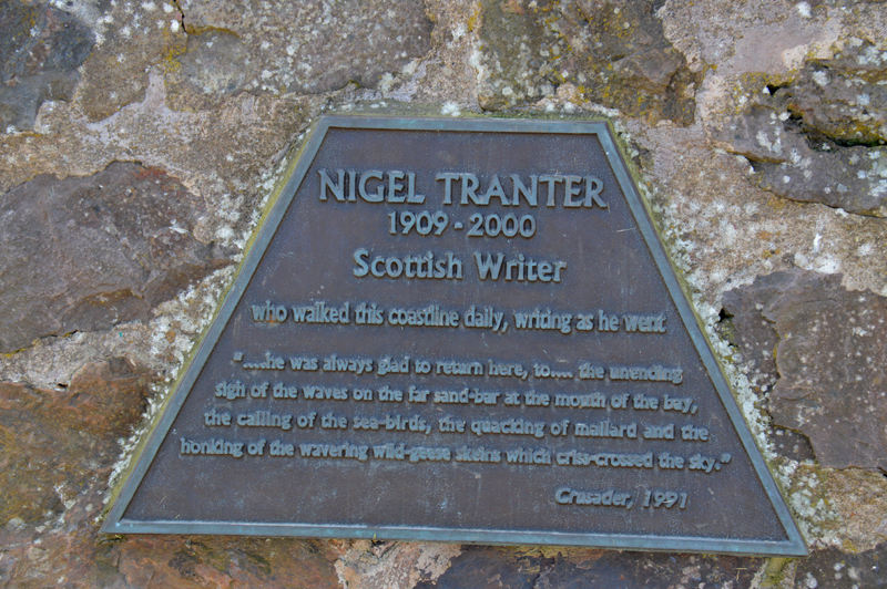 Nigel Tranter plaque on the writer memorial in Aberlady Bay © 2012 Scotiana