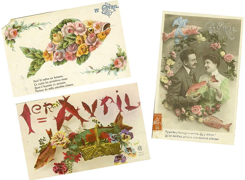 Old French postcards 'poissons d'avril' Wikipedia