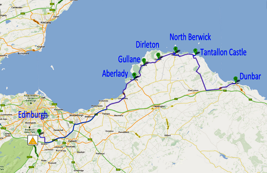 Map road A198 from Edinburgh to Dunbar