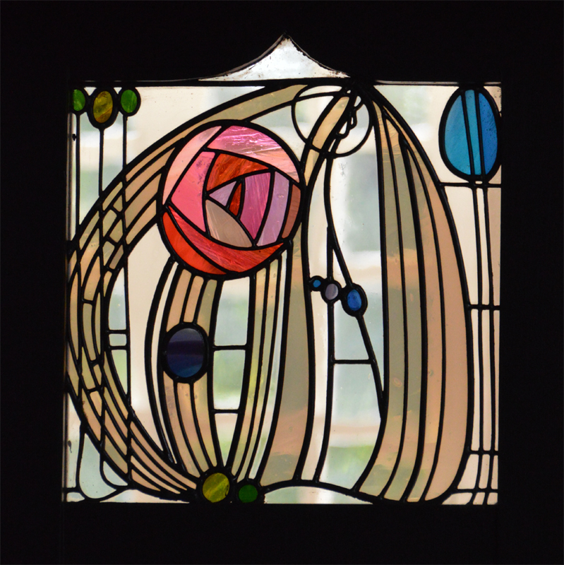 Charles Rennie Mackintosh rose glass panel  House for an Art Lover