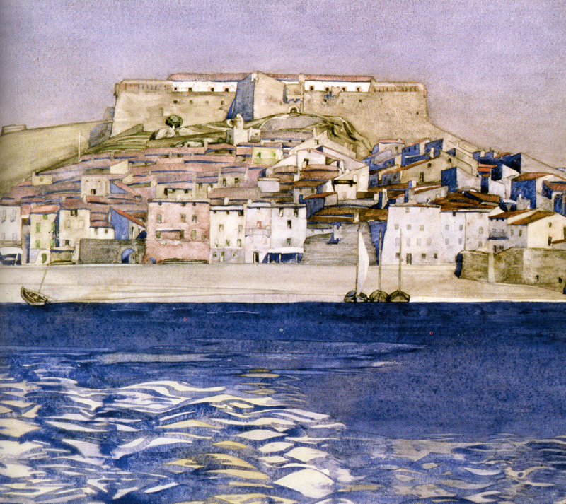 Collioure watercolour painted by CR Mackintosh in 1924