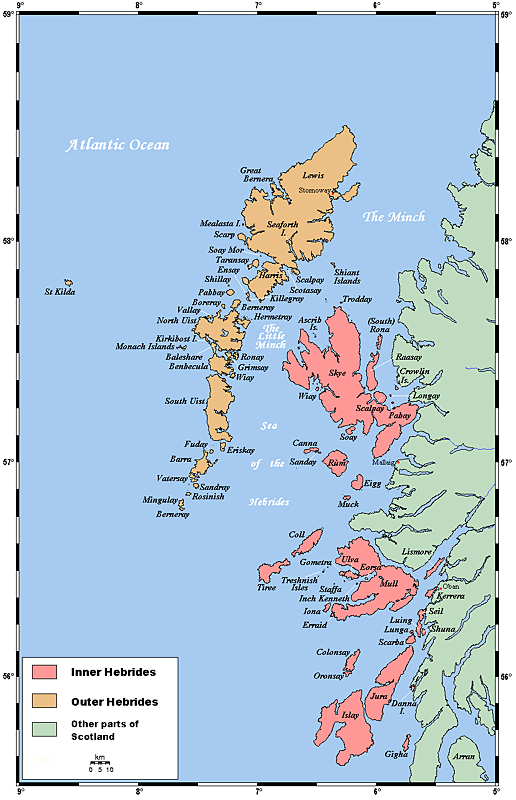 Inner and Outer Hebrides map. Wikipedia