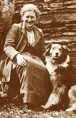 Photo of British writer and illustrator, Beatrix Potter and her dog Kep, 1913 Wikimedia