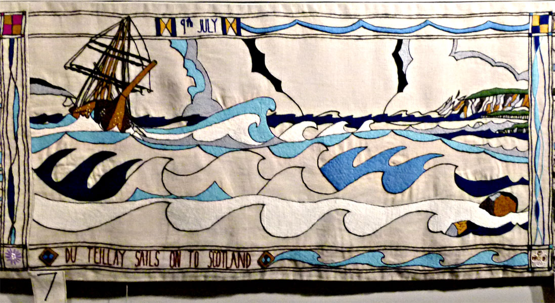Prestonpans tapestry panel 7 The Du Teillay sailing on stormy seas towards Scotland© 2013 Scotiana