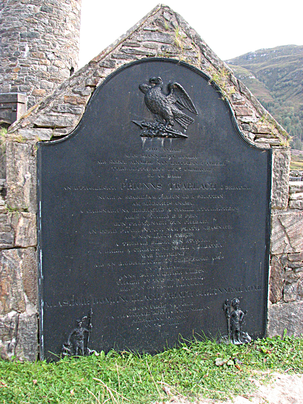 Glenfinnan memorial plaque - Scotland
