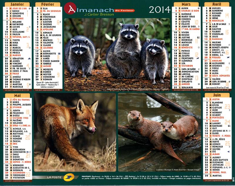 Almanach du facteur 2014 Janvier-Juin