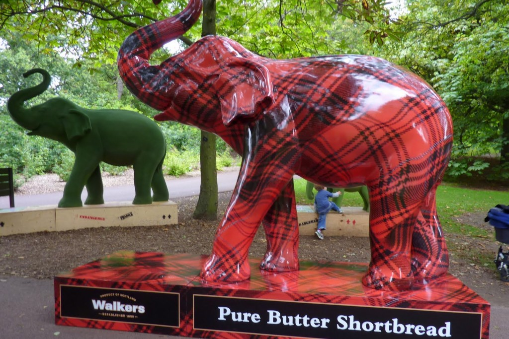 elephant sculpture in botanical gardens art walkers pure butter shortbread