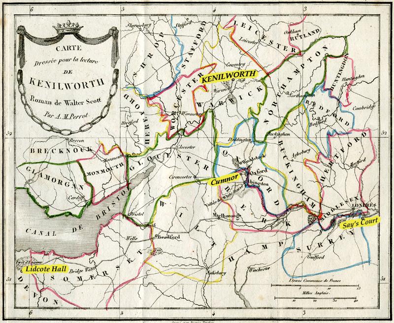 Map Kenilworth Sir Walter Scott's novel old French Furne edition