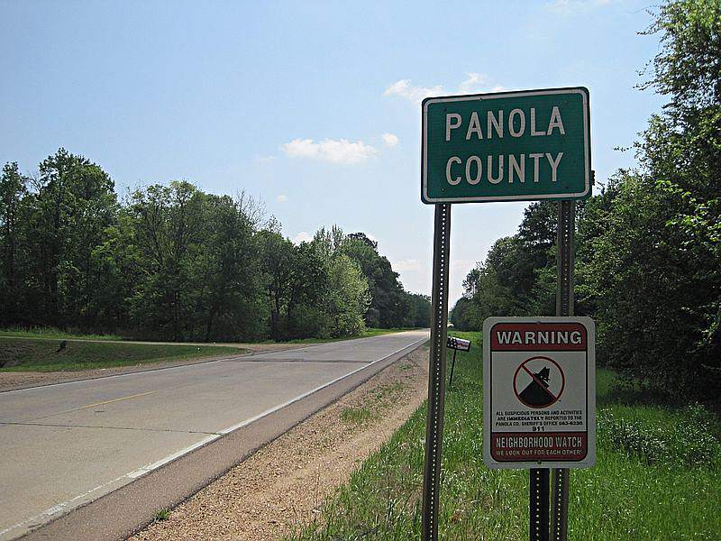 Panola County East Texas US road  sign