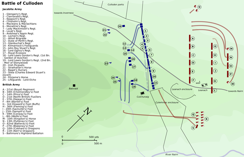 Battle of Culloden map Source Wikipedia