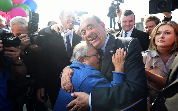 Alex Salmond and the old woman Source Telegraph 10 september 2014