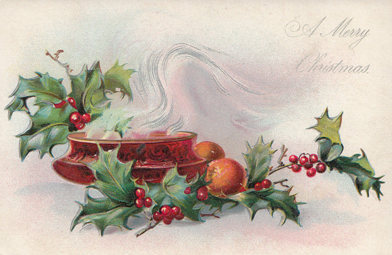 Old postcard A Merry Christmas candle oranges holly
