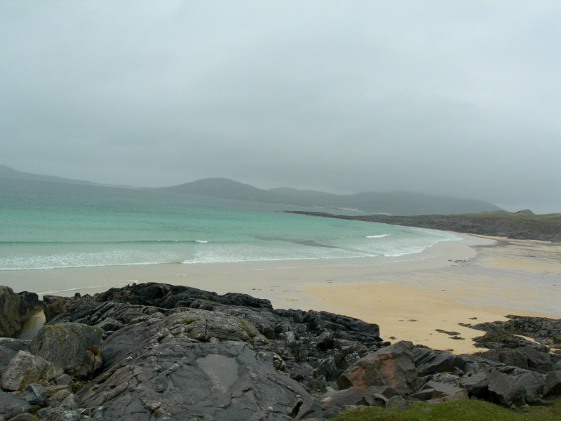 Blue waters and pink sands in Harris Outer Hebrides © 2000 Scotiana