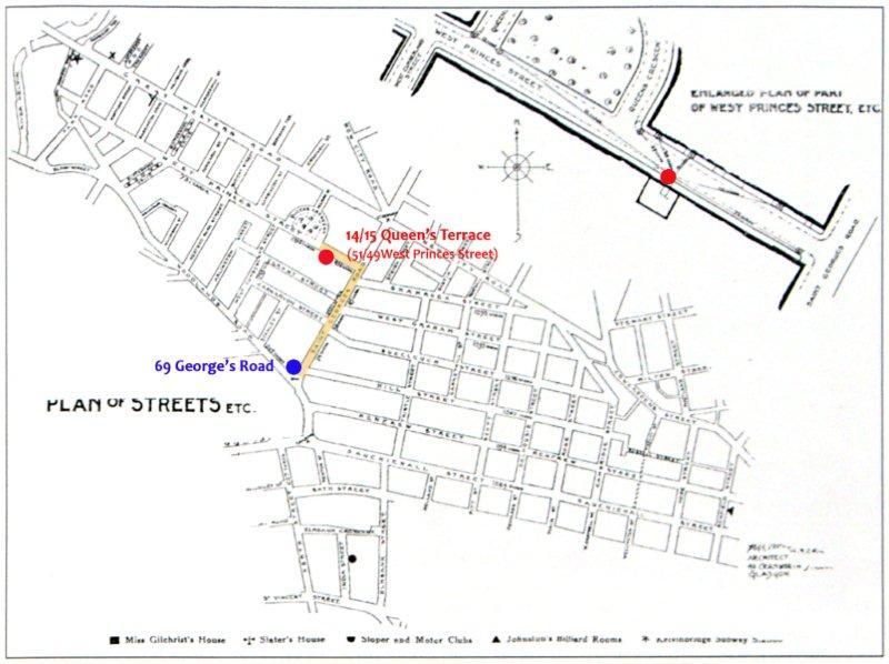 Glasgow plan of streets with 14 Queen's Terrace and  69 George's Road