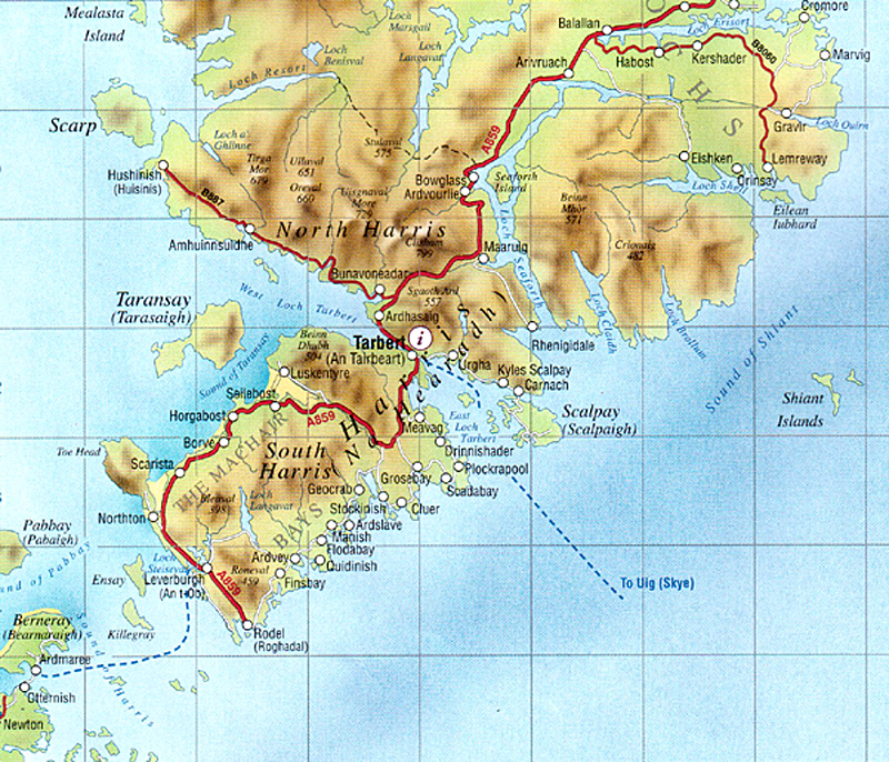 map of North and South Harris in Outer Hebrides