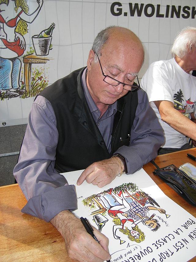 Cartoonist Wolinski at fête de L'Humanité 2007-02
