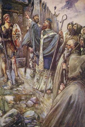 Columba banging on the gate of Bridei John r Skelton illustration