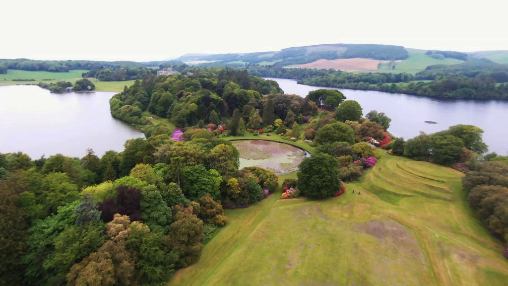 Castle Kennedy Gardens aerial view Round Pound © 2015 Scotiana