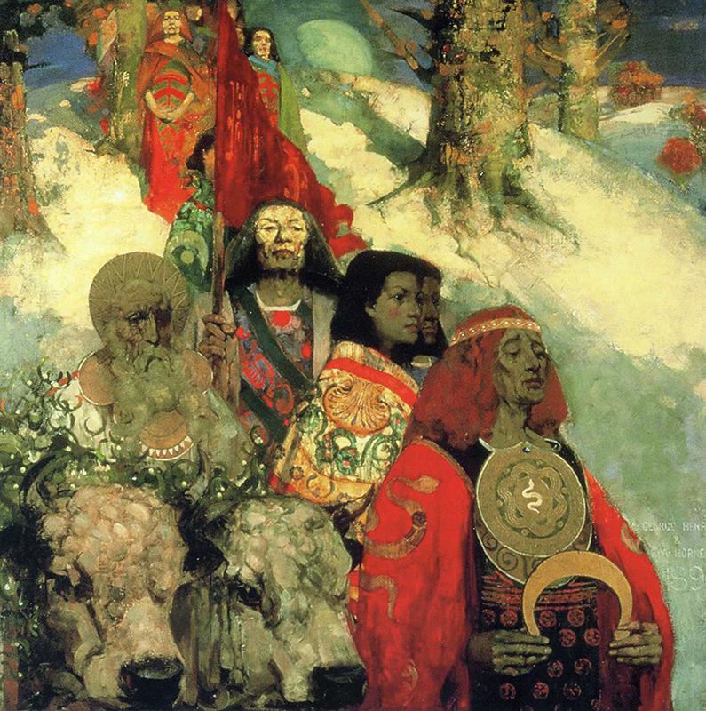 Druids bringing in the mistletoe E.A. Hornel & G.Henry 1890