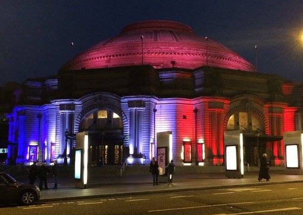 The Usher Hall in blue, white, red. © 2015 Scotsman Edinburgh News