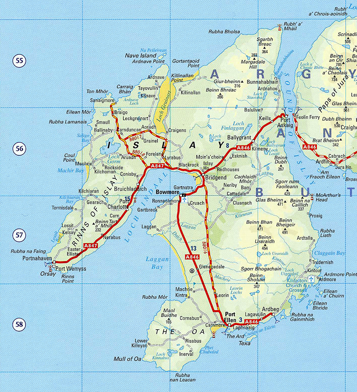 Islay Scotland Map.Islay Day 3 Bowmore Kildalton Cross Ardberg Port Ellen