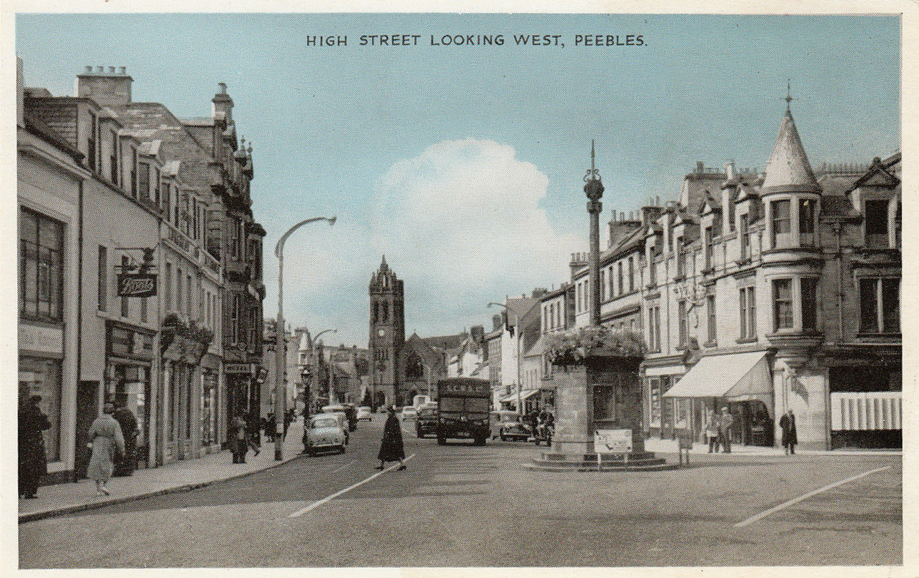 High Street Peebles Scotland old postcard